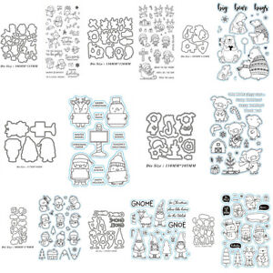 Cute Winter Xmas Animals Metal Cutting Dies And Clear Stamps Set DIY Gift Card