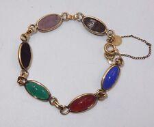"""Vintage Bojar 1/20 12Kt Gold Filled 6 Scarab Stones 7"""" Bracelet W/ Safety Chain"""