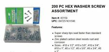 200pc Hex Head Self Drilling Tapping Washer Screws, Zinc Plated Carbon Steel