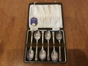 6x Yeoman Plate EPNS Spoons in Display Box #924