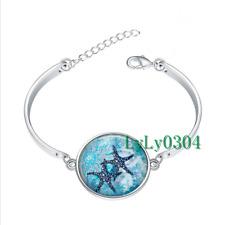 Starfish Garden glass cabochon Tibet silver bangle bracelets wholesale