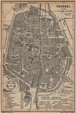 TOURNAI DOORNIK antique town city plan. Belgium carte. BAEDEKER 1901 old map