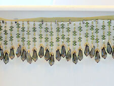 "Handmade Very Beautiful 2.75"" Beaded Fringe Trim Gold/Olive Green. D1"
