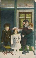 AK, Grafik, Neujahrskarte - Kinder mit Schlitten, 1912; 5026-77