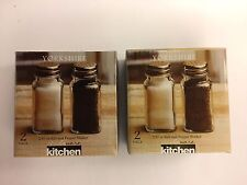 Salt & Pepper Shaker Dishwasher Safe, Clear Glass, Stainless Steel Caps Lot of 2