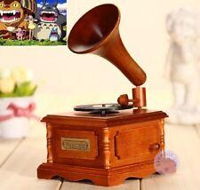 WOOD PHONOGRAPH WIND UP MUSIC BOX :  Ghibli My Neibhour Totoro