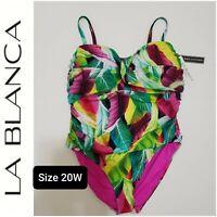 NWT LA BLANCA Women's One-piece Slimming Swimsuit  Plus Size 20W Floral