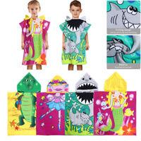 Toddler Kids Cartoon Hooded Beach Bath Towel Swim Pool Cover up Poncho Cape US