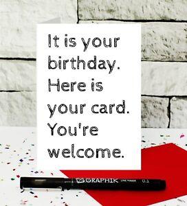 funny birthday card - dry humour card - cheeky birthday card - joke card - UK