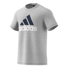 Magliette da uomo grigie adidas in misto cotone
