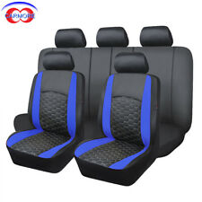 11 Full Set Blue Color Universal Faux Leather Seat Covers with Heavy Duty Mesh