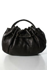 Bottega Veneta Brown Leather Woven Handle Small Hobo Handbag
