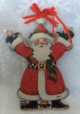 Vtg Mary Engelbreit Santa Christmas Ornament, Wood/Paper, Double-Sided Design