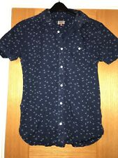 NEXT Mens Dark Blue Cotton Shirt With Bird Print Design Size Small