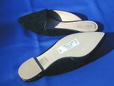 """Las nuevas señoras """"Jasper Conran 'Diseñador Negro de cuero de gamuza Mula Zapatos Planos UK 5"""