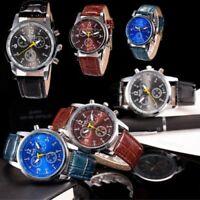 Herren Luxus Mode Crocodile Kunstleder Uhr Quarz Analoge Edelstahl Armbanduhren