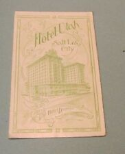 1910 Era Hotel Utah Salt Lake City Travel Brochure Morman Temple Roof Garden