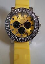 MEN'S ICE OUT TECHNO KING YELLOW SILICONE BAND HIP HOP BLING  FASHION WATCH