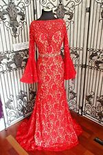 SR706 JOVANI SZ 6 RED NUDE lace $825  PROM FORMAL GOWN DRESS
