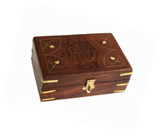 Hand Carved Wooden Jewelry Holder Box Organizer Multipurpose with Floral Carving