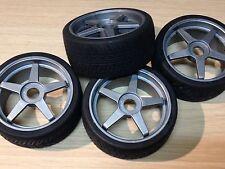 KYOSHO INFERNO GT 1/8th, 4 X Semi Slick neumáticos en Gris ruedas IGH002, precio De Oferta