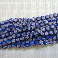 MILLEFIORI LAMPWORK GLASS BEADS COBALT COIN 10MM 15""