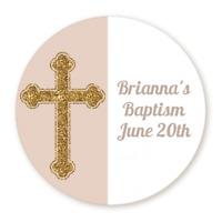 Gold Glitter Beige Cross - Round Personalized Baptism Christening Sticker Labels