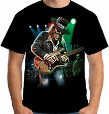 Velocitee Mens T-Shirt Texas Blues Cowboy Guitar Evil Skeleton Festival A18630