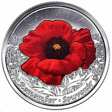 2015 Canada Red Poppy Coloured Quarter From Mint Roll