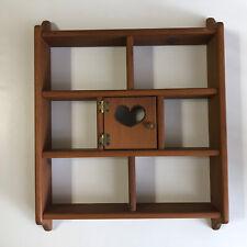 "Vintage Wooden Trinket Display Shelf 7 Cubbies Heart Wall Hanging Farm Barn 24"""