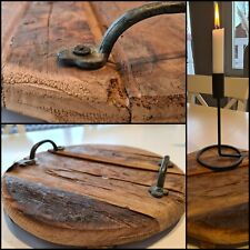 Tablett Antik Holz Handmade Metall Griff Dekoration Gr. S - A1