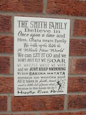Personalised In this house we believe in once upon a time family disney plaque