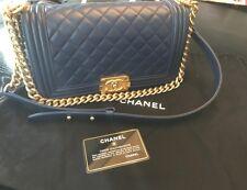 Chanel Navy Blue Le Boy Old Medium Flap Bag Handbag