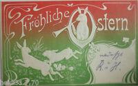 """""""Ostern, Hasen, Flöte, Jugendstil""""1902, Prägekarte ♥ (6711)"""