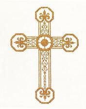 "Elegant 7"" tall Gold & White CROSS handpainted 18 mesh Needlepoint Canvas by LEE"