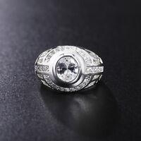 Mujer Elegante Anillos De Compromiso Boda Anillo Cristal Circular  joyería Ring