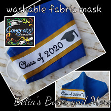 Royal blue.Adult regular.Class of 2020. Washable Fabric Mask with pocket