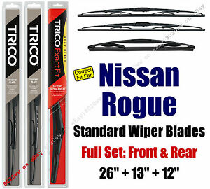 Wipers 3-Pack Front & Rear fits 2008+ Nissan Rogue & Rogue Select 30260/130/12J