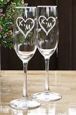 Engraved Champagne Toasting Glasses, Arrow Initials in a Heart, Wedding Gift Ide