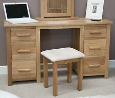 Eton solid oak furniture large bedroom dressing table with stool
