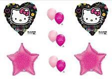 "HELLO KITTY BIRTHDAY BALLLOONS Black Pink Decorations Supplies New 17"" Size!"