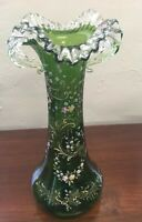 """Antique Green Blown Glass Vase Enameled Flowers Tall 14"""""""
