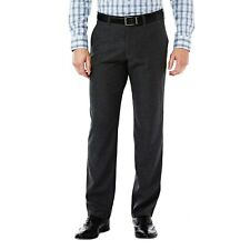 Haggar Men's In Motion 36x34 Slim Fit Flat Front Active Casual Pant Charcoal
