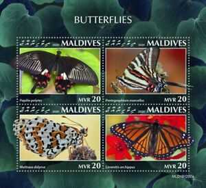 Maldives Butterflies Stamps 2020 MNH Viceroy Common Mormon Butterfly 4v M/S