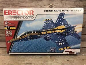 Meccano Boeing FA18 Super Hornet Erector Building Set Pre-owned All Pieces Count