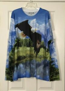 Get A Life Men's Shirt Size 3XL Flying Bald Eagle All Over Long Sleeve