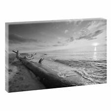 Sundown Bild Strand Meer Keilrahmen Leinwand Poster Wandbild 120 cm*80 cm 547 sw