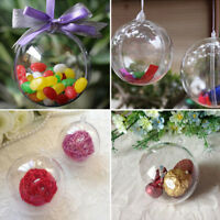 50X Plastic Clear Christmas Balls Baubles Sphere Fillable Xmas Tree Ornament