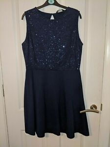 Dorothy Perkins Navy Blue Dark Blue A-Line Sequin Dress Size 14 New with tags.