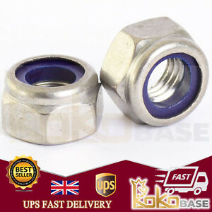 STAINLESS STEEL A4 MARINE GRADE NYLOC NYLOCK NYLON INSERT NUT NUTS M3 TO M12